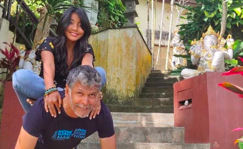 ankita konwar helps husband milind soman in workout share photos on socail media