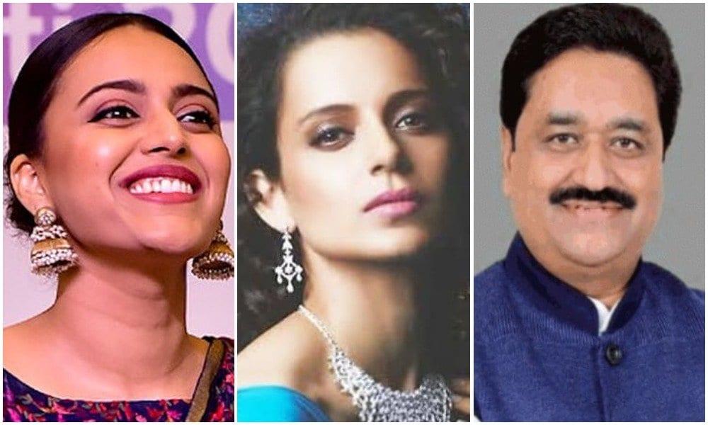 swara bhaskar slams congress mla sukhdev panse and kangana ranaut
